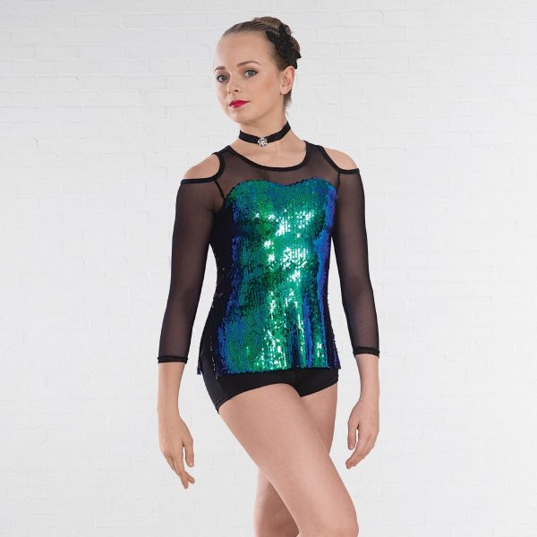 1st Position Iridescent Sequin Unitard with Mesh Sleeves