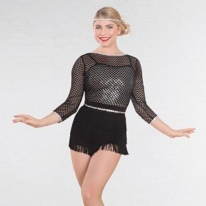 1st Position Mesh Glitz Dress with Fringe Skirt and Sequin Crop Top