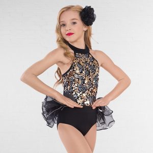 1st Position Multi Sequin Unitard with Bustle Skirt