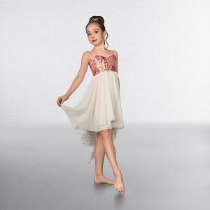 1st Position Sequin Feather Dip Hemmed Lyrical Dress