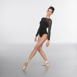 1st Position Sweetheart neck and Mesh long sleeve Fashion Leotard Black