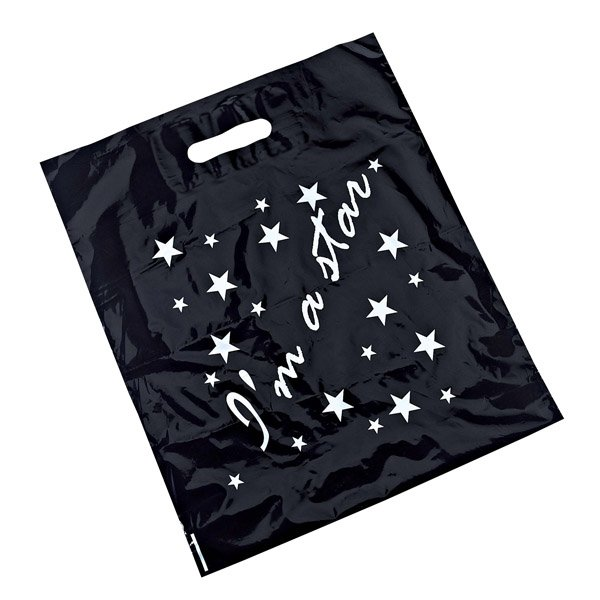 "Black Carrier Bag with ""I'm a star"" Logo (Pack of 50)"