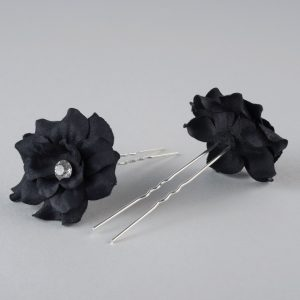 Fabric Flower Hairpins Pair