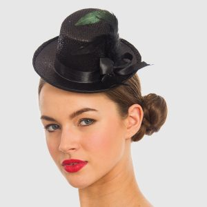 Mini Top Hat with Ribbon & Feather