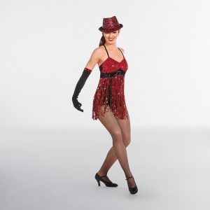 Red & Black Sequin Fringed Unitard