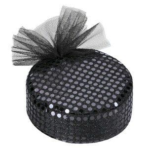 Sequin & Net Pill Box Hat