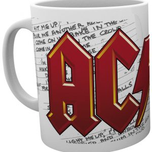 AC/DC Logo and Lyrics Cup white