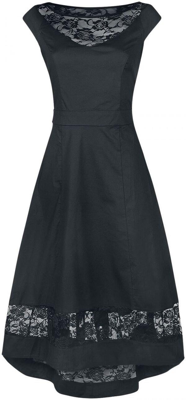 Banned Lace Stripe Medium-length dress black