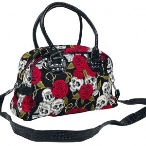 Banned Skulls and Roses Handbag black