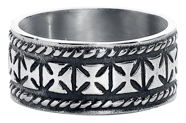etNox Iron Crosses Ring silver coloured
