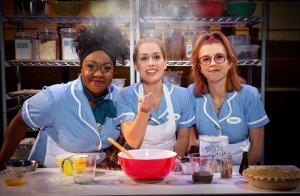Kennedy Salters as Becky, Bailey McCall as Jenna and Gabriella Marzetta as Dawn in the US tour of Waitress.