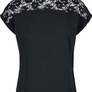 Urban Classics Ladies Lace Yoke Tee T-Shirt black