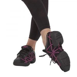 Capezio Black Patent Web Sneakers Black/Silver