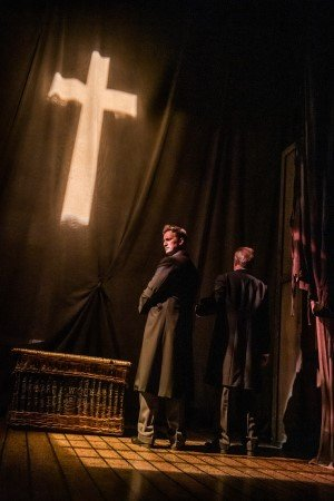 THE WOMAN IN BLACK. Max Hutchinson 'The Actors' and Terence Wilton 'Arthur Kipps'. Photo Tristram Kenton.