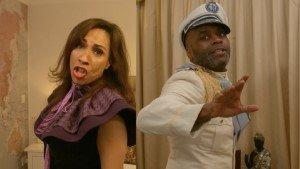 Debbie Kurup (Vivika Orsonwelles) and Cedric Neal (George Murderer) in A Killer Party.
