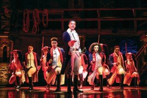 Foreground Karl Queensborough and the West End cast of Hamilton. Photo Credit Matt Murphy.
