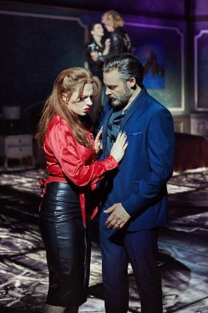 Sharon Sexton as Sloane & Rob Fowler as Falco in BAT OUT OF HELL THE MUSICAL. Photo Credit - Specular.