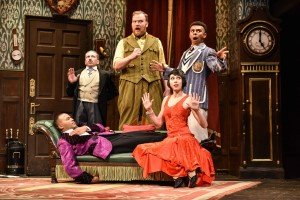 The Company of The Play That Goes Wrong at the Duchess Theatre. Photo credit Robert Day